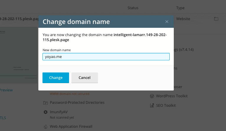 Plesk Change Temporary to Permanent Domain
