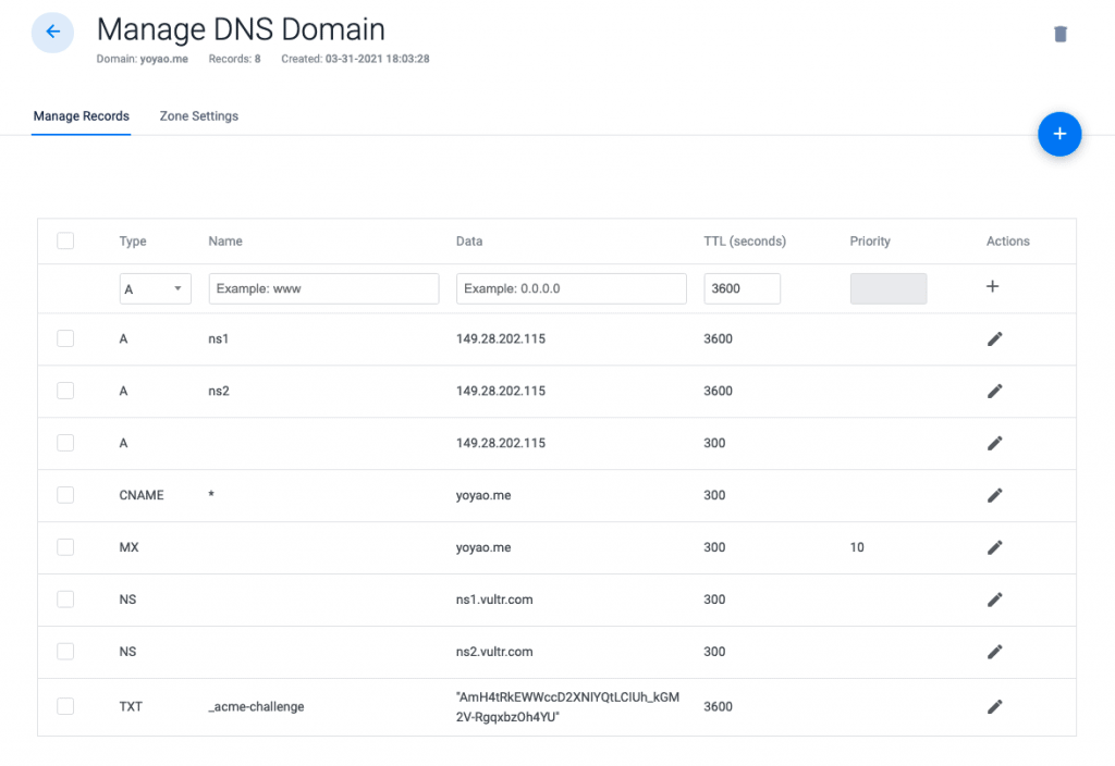 Add Domain DNS Records on Vultr
