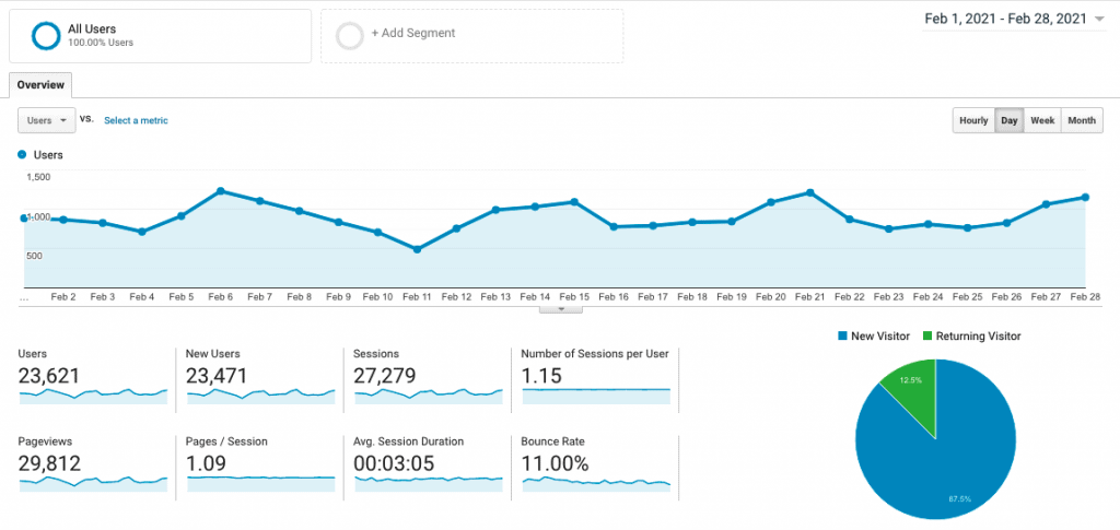 Site 1 Case Study Month 9 February 2021 Google Analytics Visitor Traffic