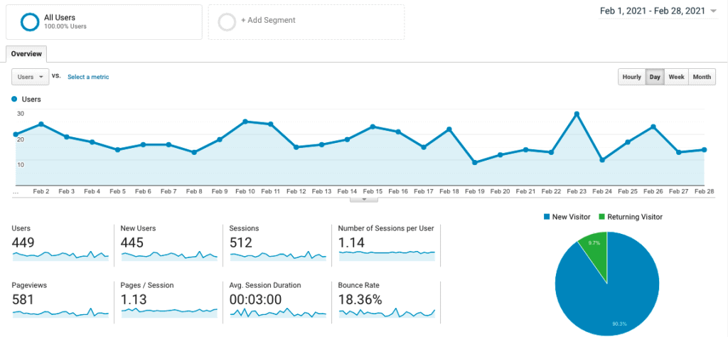 Site 3 Case Study Month 9 February 2021 Google Analytics Visitor Traffic